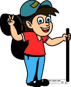 hiker with backpack sleeping bag clipart